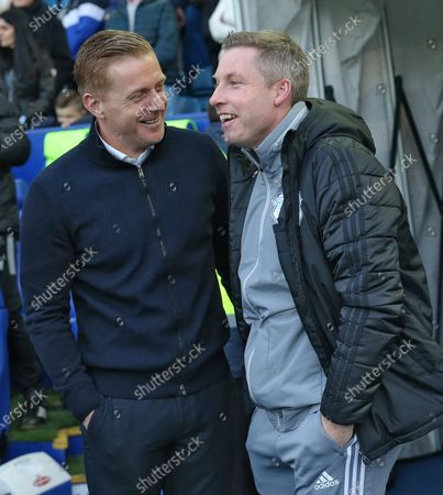 Manager Neil Harris of Cardiff and Manager Gary Monk of Sheffield Wednesday greet each other before the start of the match