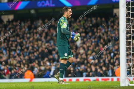 Claudio Bravo of Manchester City celebrates the second goal of the game during the Premier League match between Manchester City and Sheffield United at the Etihad Stadium, Manchester