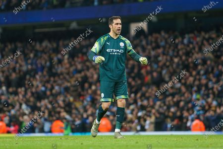 Claudio Bravo of Manchester City celebrates the first goal of the game during the Premier League match between Manchester City and Sheffield United at the Etihad Stadium, Manchester