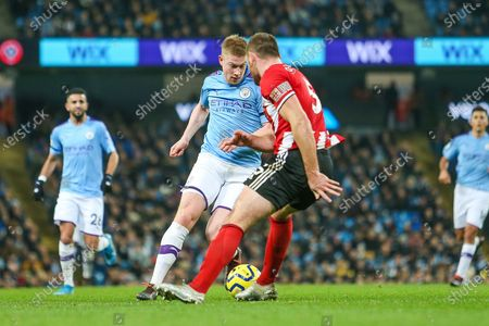 Kevin De Bruyne of Manchester City & Jack O'Connell of Sheffield United during the Premier League match between Manchester City and Sheffield United at the Etihad Stadium, Manchester