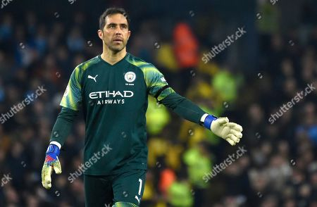 Manchester City's goalkeeper Claudio Bravo during the English Premier League soccer match between Manchester City and Sheffield United at Etihad stadium in Manchester, England