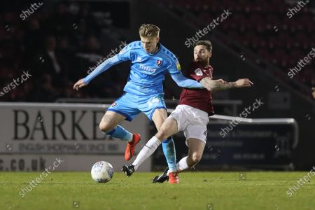 Max Sheaf and Paul Anderson  during the EFL Sky Bet League 2 match between Northampton Town and Cheltenham Town at the PTS Academy Stadium, Northampton