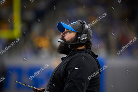Detroit Lions head coach Matt Patricia on the sideline against the Green Bay Packers during an NFL football game at Ford Field in Detroit