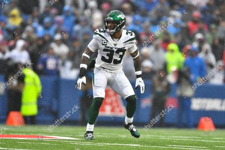 Stock Image of New York Jets strong safety Jamal Adams (33) during the first half of an NFL football game against the Buffalo Bills in Orchard Park, N.Y