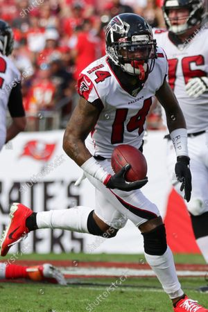Atlanta Falcons wide receiver Justin Hardy (14) runs with the ball during the NFL game between the Atlanta Falcons and the Tampa Bay Buccaneers held at Raymond James Stadium in Tampa, Florida. Andrew J