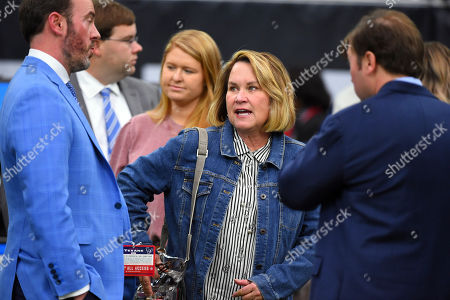 Tennessee Titans' owner Amy Adams Strunk on the sidelines before an NFL football game against the Houston Texans, in Houston