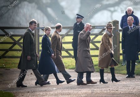 Stock Image of Sir Tim Laurence, Lady Louise Windsor, Prince Edward, Prince Charles and Princess Anne