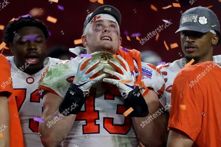 Clemson linebacker Chad Smith (43) during the first half of the Fiesta Bowl NCAA college football game against Ohio State, in Glendale, Ariz