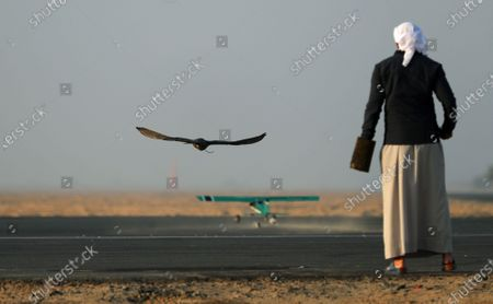 A man watches his gyrfalcon fly during the Fazza Championship for Falconry in Dubai, United Arab Emirates (UAE), 30 December 2019. The Fazza Championship for Falconry is sponsored by Dubai's Crown Prince Sheikh Hamdan bin Mohammed bin Rashid Al Maktoum. Falconry, locally known as 'kanas' is an integral part of the heritage of the UAE. The falconry tournaments run until the end of March 2020.