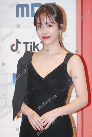Han Ji-min poses for photographers at the annual MBC Drama Awards ceremony in Seoul, South Korea, 30 December 2019.