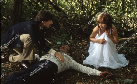 Simon MacCorkindale as Harry, Stanley Lebor as Charles Willoughby and Kathryn Leigh Scott as Penny