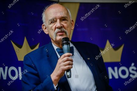 Polish lawmaker and runner for the far right Confederation Liberty and Independence (Konfederacja) political Party for Presidential Primaries, Janusz Korwin-Mikke speaks to his supporters during the meeting ahead of the party primaries to elect a candidate for the May 2020 Presidential elections.