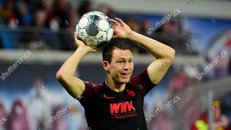 Augsburg's Stephan Lichtsteiner in action during the German Bundesliga soccer match between RB Leipzig and FC Augsburg in Leipzig, Germany