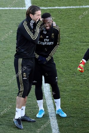 Stock Photo of Real Madrid's Sergio Ramos (L) and Vinicius Jr. (R) attend the team's first training session after the Christmas recess at the Alfredo Di Stefano sports complex in Madrid, Spain, 30 December 2019.