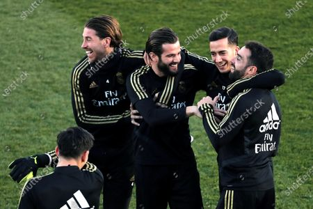 Stock Picture of Real Madrid's (L-R) Sergio Ramos, Nacho, Lucas Vazquez and Dani Carvajal attend the team's first training session after the Christmas recess at the Alfredo Di Stefano sports complex in Madrid, Spain, 30 December 2019.