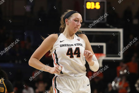 Oregon State's Taylor Jones (44) relocates on the court following a referee call during the second half of an NCAA college basketball game against Cal State Bakersfield in Corvallis, Ore., . Oregon State won 69-50