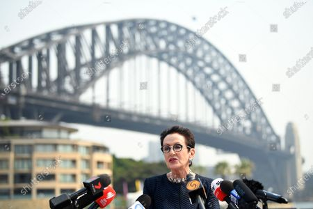 Lord Mayor of Sydney Clover Moore speaks to the media during a press conference regarding New Year's Eve, in front of the Sydney Harbour Bridge in Sydney, Australia, 31 December 2019.