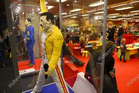 A view of a model realized with Lego bricks depicting British singer Freddie Mercury displayed in a Lego Exhibition at the National Stadium in Warsaw, Poland, 31 December 2019. The exhibition runs until 11 March 2020 and features, among others, models in a 1:1 scale of famous people.