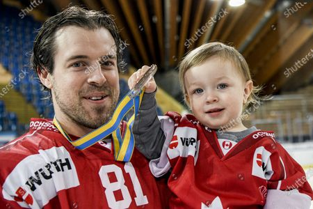 Team Canada's Nick Ross celebrates after winning the final game between Team Canada and HC Ocelari Trinec at the 93rd Spengler Cup ice hockey tournament in Davos, Switzerland, 31 December 2019.