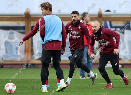 Vissel Kobe's Spanish players Andres Iniesta (R) and David Villa (C) are in a practice session preparing for the Emperor's Cup final at new National Stadium, to be Olympic Stadium, in Tokyo, Japan, 31 December 2019. The final will be played against Kashima Antlers on 01 January 2020.