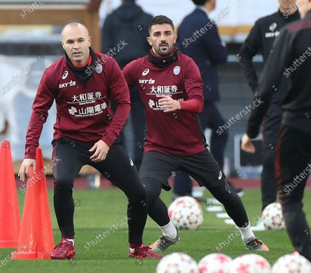 Vissel Kobe's Spanish players Andres Iniesta (L) and David Villa are in a practice session preparing for the Emperor's Cup final at new National Stadium, to be Olympic Stadium, in Tokyo, Japan, 31 December 2019. The final will be played against Kashima Antlers on 01 January 2020.