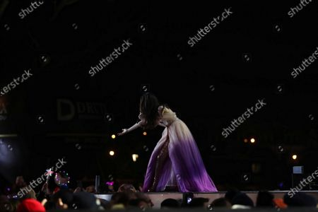 Uruguayan singer Natalia Oreiro performs on stage during the New Year's Eve concert in Zakopane, southern Poland, 31 December 2019.