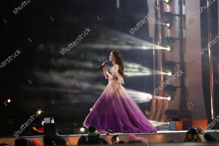 Stock Photo of Uruguayan singer Natalia Oreiro performs on stage during the New Year's Eve concert in Zakopane, southern Poland, 31 December 2019.