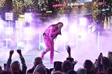 Stock Image of Post Malone performs during Dick Clark's New Year's Rockin' Eve