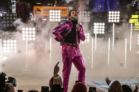 American singer Post Malone performs during New Year's Eve celebrations at Time Square, New York, USA, 01 January 2020.