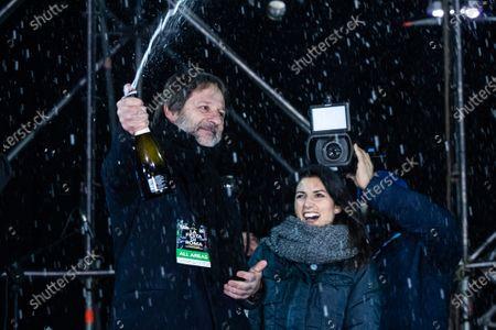 Mayor Virginia Raggi and vice mayor Luca Bergamo attend the New Year celebrations at the Circus Maximus in Rome.