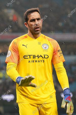 Manchester CityÕs goalkeeper Claudio Bravo waits for the ball