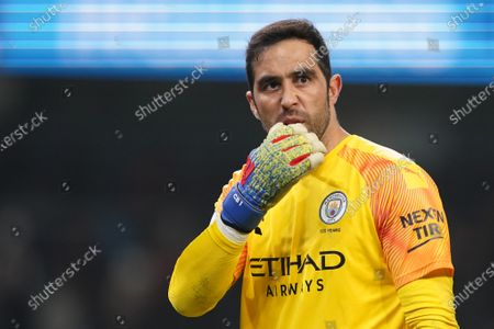 Manchester CityÕs goalkeeper Claudio Bravo is seen after the game