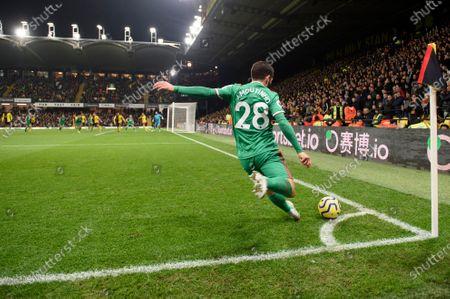 Joao Moutinho of Wolverhampton Wanderers takes a corner kick.