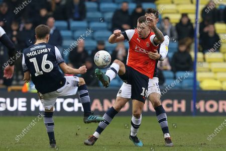 James Collins of Luton Town and Jayson Molumby of Millwall during Millwall vs Luton Town, Sky Bet EFL Championship Football at The Den on 1st January 2020