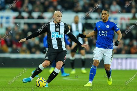 Jonjo Shelvey (#8) of Newcastle United in action during the Premier League match between Newcastle United and Leicester City at St. James's Park, Newcastle
