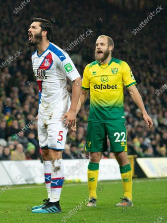 James Tomkins of Crystal Palace reacts after being brought down by Teemu Pukki of Norwich City