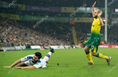 James Tomkins of Crystal Palace is brought down by Teemu Pukki of Norwich City