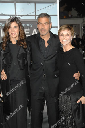 Elisabetta Canalis and George Clooney with his mother, Nina Clooney