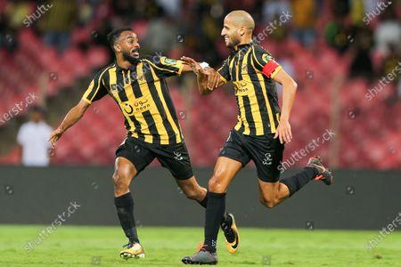 Al-Ittihad's Karim El Ahmadi (R) celebrates after scoring during the Round 16 of the Kings Cup match between Al-Ittihad and Al-Fateh at King Abdullah II Sport City Stadium, Jeddah, Saudi Arabia, 01 January 2020.