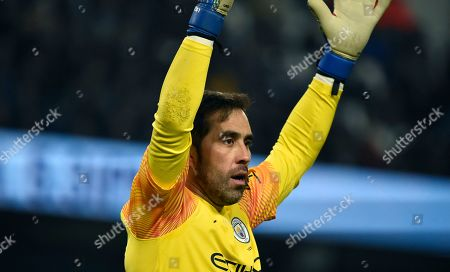 Manchester City's goalkeeper Claudio Bravo reacts during the English Premier League soccer match between Manchester City and Everton at Etihad stadium in Manchester, England