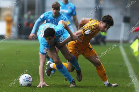 Jacob Greaves  and Danny McNamara during the EFL Sky Bet League 2 match between Newport County and Cheltenham Town at Rodney Parade, Newport