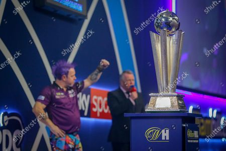 WINNER Peter Wright (Scotland) celebrates after his win over Michael Van Gerwen (Netherlands) (not in picture), John McDonald, in the final of the PDC William Hill World Darts Championship at Alexandra Palace, London