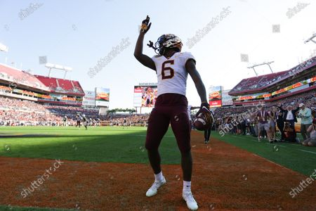 Minnesota Golden Gophers wide receiver Tyler Johnson (6) scores a touchdown in the fourth quarter during the Outback Bowl NCAA football game between the Minnesota Gophers and the Auburn Tigers held at Raymond James Stadium in Tampa, Florida. Andrew J