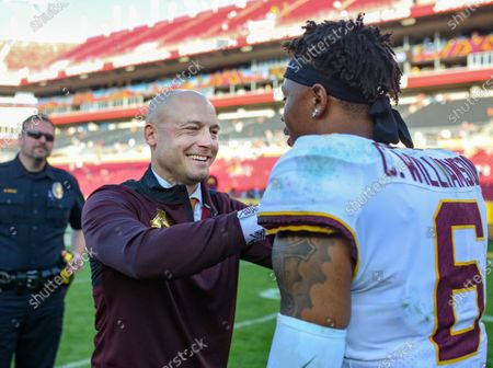 Minnesota head coach P.J. Fleck and Chris Williamson #6 celebrate the Golden Gopher's victory in the Outback Bowl football game between the Minnesota Golden Gophers and the Auburn Tigers at Raymond James Stadium in Tampa, FL