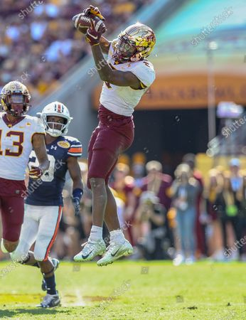 Minnesota's Tyler Johnson #6 jumps up to make a long catch during the Outback Bowl football game between the Minnesota Golden Gophers and the Auburn Tigers at Raymond James Stadium in Tampa, FL