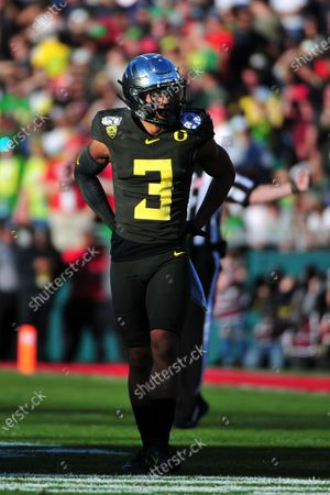 Oregon Ducks wide receiver Johnny Johnson III #3 during the 2019 Rose Bowl game between the Oregon Ducks and the Wisconsin Badgers at the Rose Bowl Stadium in Pasadena, CA