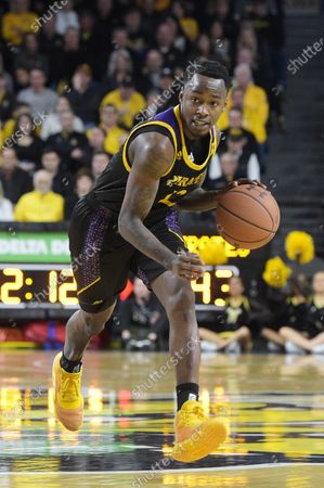 Stock Picture of East Carolina Pirates guard Tremont Robinson-White (12) handles the ball during the NCAA Basketball Game between the East Carolina Pirates and the Wichita State Shockers at Charles Koch Arena in Wichita,Kansas