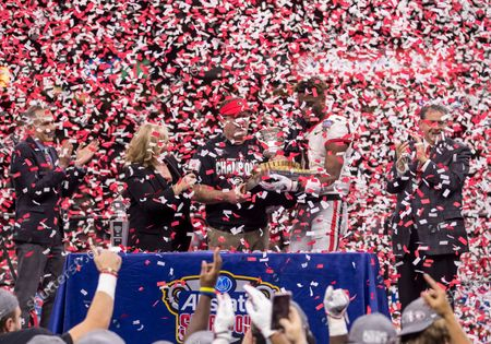 Georgia head coach Kirby Smart and Georgia wide receiver George Pickens (1) accept the Sugar Bowl trophy after NCAA Football game action between the Georgia Bulldogs and the Baylor Bears at Mercedes-Benz Superdome in New Orleans, Louisiana. Georgia defeated Baylor 26-14