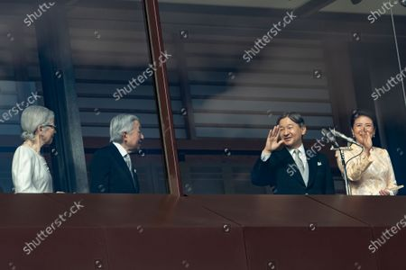 Stock Picture of Former Emperor Akihito, Former Empress Michiko, Japanese Emperor Naruhito and Empress Masako