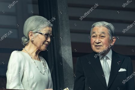 Japanese Former Emperor Akihito and Former Empress Michiko